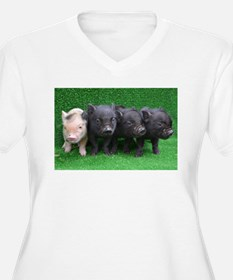 4 micro pigs in a row Plus Size T-Shirt