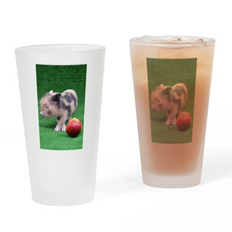 Baby micro pig with Peach Drinking Glass