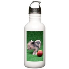 Baby micro pig with Peach Sports Water Bottle