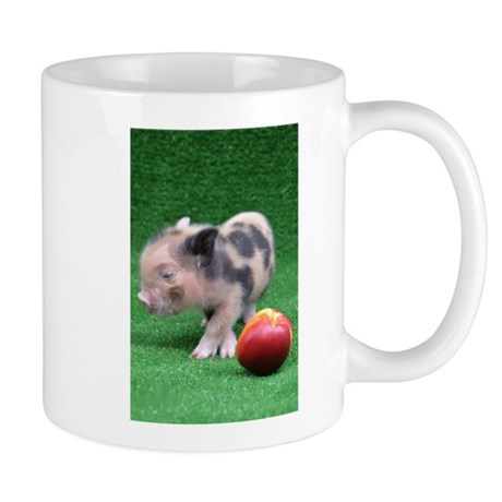 Baby micro pig with peach small mug by petpiggiesmicropigshop for Mug isotherme micro ondable