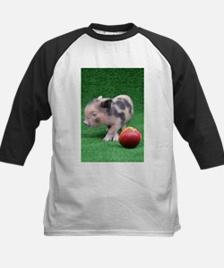 Baby micro pig with Peach Baseball Jersey