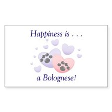 Happiness is...a Bolognese Rectangle Decal