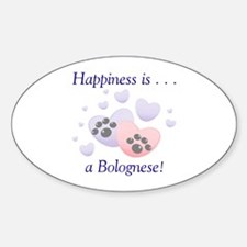 Happiness is...a Bolognese Oval Decal