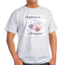 Happiness is...a Bolognese Ash Grey T-Shirt