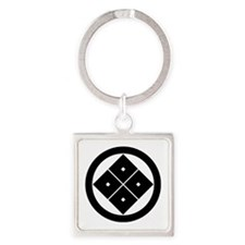 Tilted four-square-eyes in circle Square Keychain