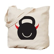 Happy Kettlebell with horns Tote Bag