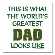"""World's Greatest Dad Square Car Magnet 3"""" x 3"""""""