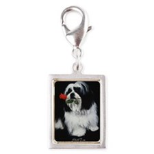 Shih Tzu Dog Rose Silver Portrait Charm