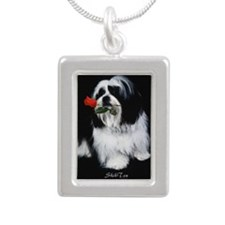 Shih Tzu Dog Rose Silver Portrait Necklace