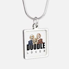 Doodle Lover Silver Square Necklace