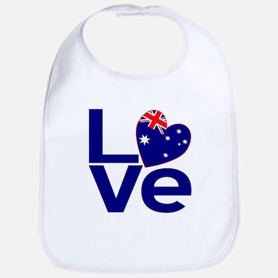 Blue Australian LOVE Bib