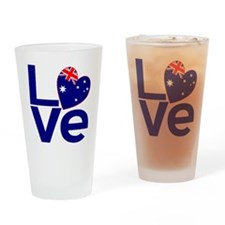 Blue Australian LOVE Drinking Glass