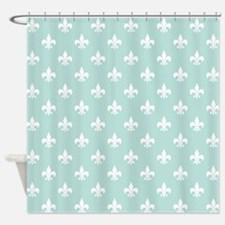 Light Teal Fleur de Lis Shower Curtain