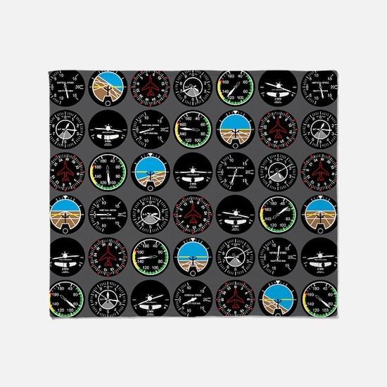Flight Instruments Throw Blanket