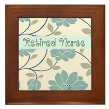 retired nurse blue flower pillow Framed Tile