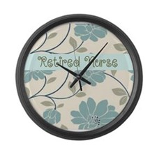 retired nurse blue flower pillow Large Wall Clock