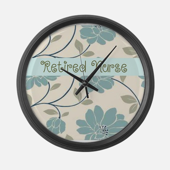 retired nurse blue flower pillow Large Wall Clock