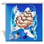 Big White Turtle and Friends Shower Curtain