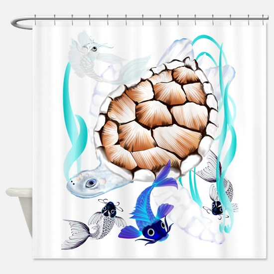 Big White Turtle and Friends2 Shower Curtain