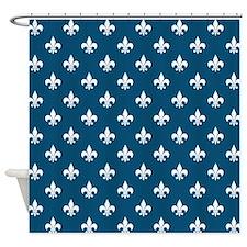 Nautical Blue Fleur de Lis Shower Curtain