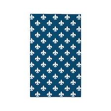 Nautical Blue Fleur de Lis 3'x5' Area Rug