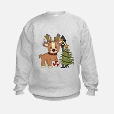 Cute Reindeer and Christmas tree Sweatshirt