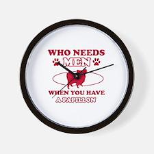 Funny Papillon lover designs Wall Clock