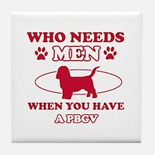 Funny PBGV lover designs Tile Coaster
