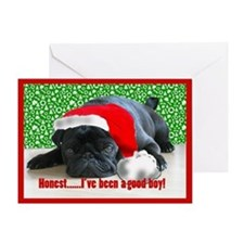 pug in santa Hat Greeting Card