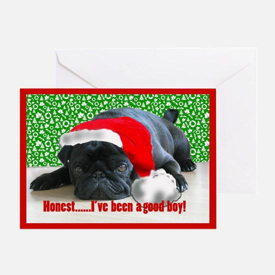 pug in santa Hat Greeting Card