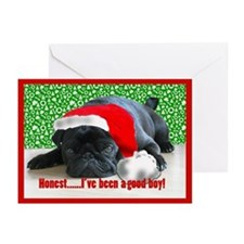 pug in santa Hat Greeting Cards (Pk of 20)