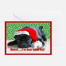 pug in santa Hat Greeting Cards (Pk of 20)