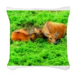 orton two cows2.png Woven Throw Pillow
