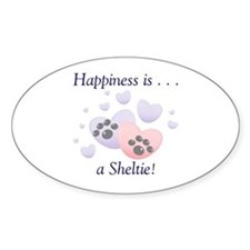 Happiness is...a Sheltie Oval Decal
