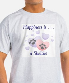 Happiness is...a Sheltie Ash Grey T-Shirt