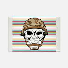 Military Skull on Rainbow Rectangle Magnet