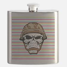 Military Skull on Rainbow Flask
