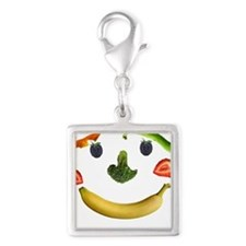 Healthy Diet Silver Square Charm