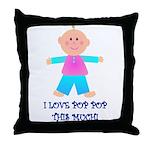 I LOVE POP POP GIRL Throw Pillow