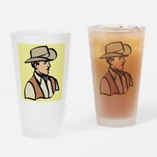 cowboy on yellow Drinking Glass