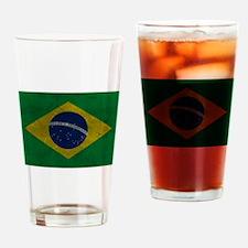 Grunge Braziilan Flag Drinking Glass