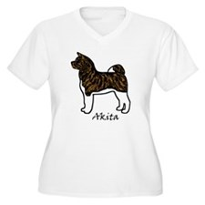 Red Brindle Self Mask Akita Plus Size T-Shirt
