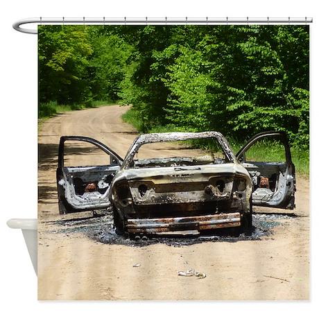 Burnt Car Shower Curtain