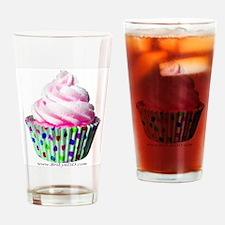 Pink Polka Dot Cupcake Drinking Glass