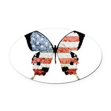 American Butterfly Oval Car Magnet