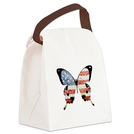American Butterfly Canvas Lunch Bag