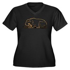 Bearly Sleeping Women's Plus Size V-Neck Dark T-Sh