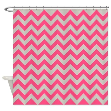 Pink And Gray Zigzag Shower Curtain By Ornaartzi