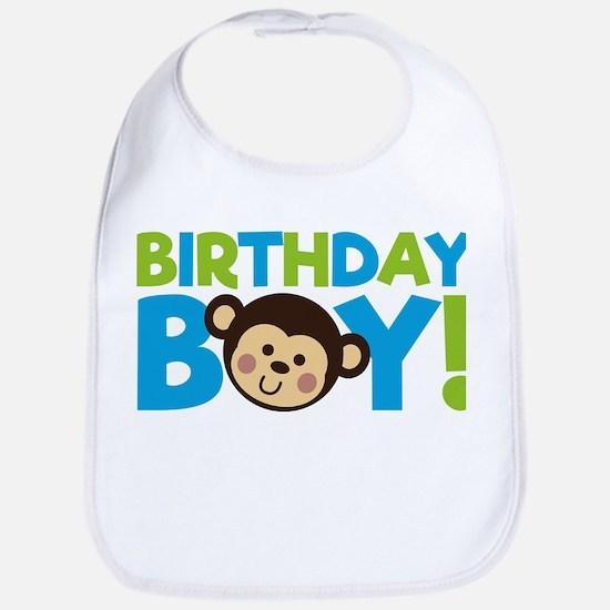 Monkey Birthday Boy Baby Bib