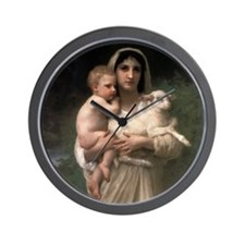Innocence With Lamb Wall Clock